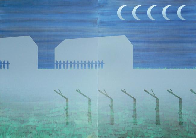 """""""Klavierstück IX"""", 2009 Acrylic on canvas 82.7 x 118.1 inches (210 x 300 cm)"""